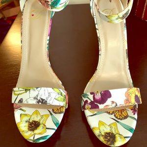 Floral Single Strap Heels